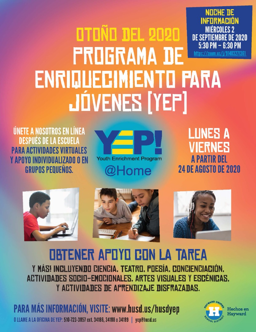 Y.E.P Flyer in spanish students studying photograph