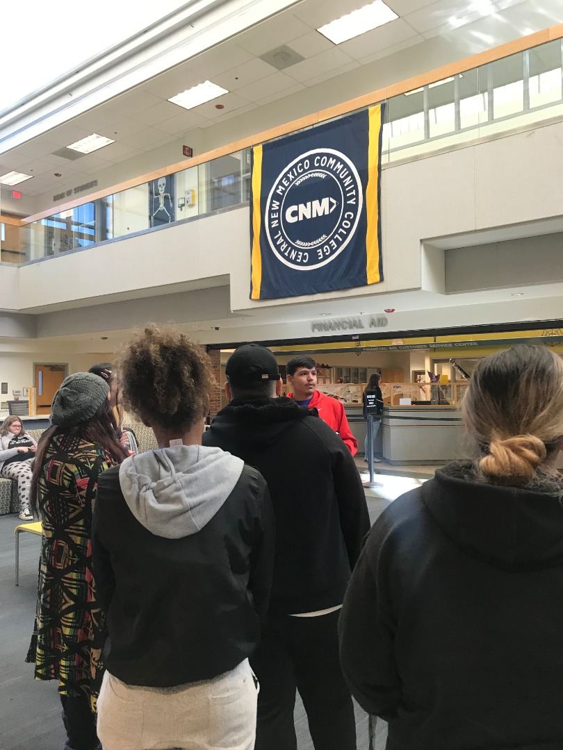 Students in the CNM student services building
