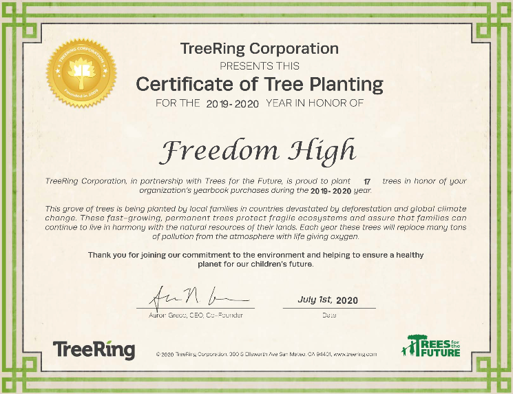 Certificate of Tree-Planting for Yearbook Sales 2019-2020