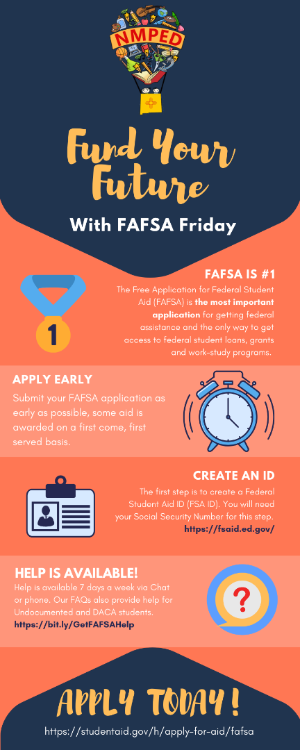 Complete your FAFSA at https://studentaid.gov/h/apply-for-aid/fafsa