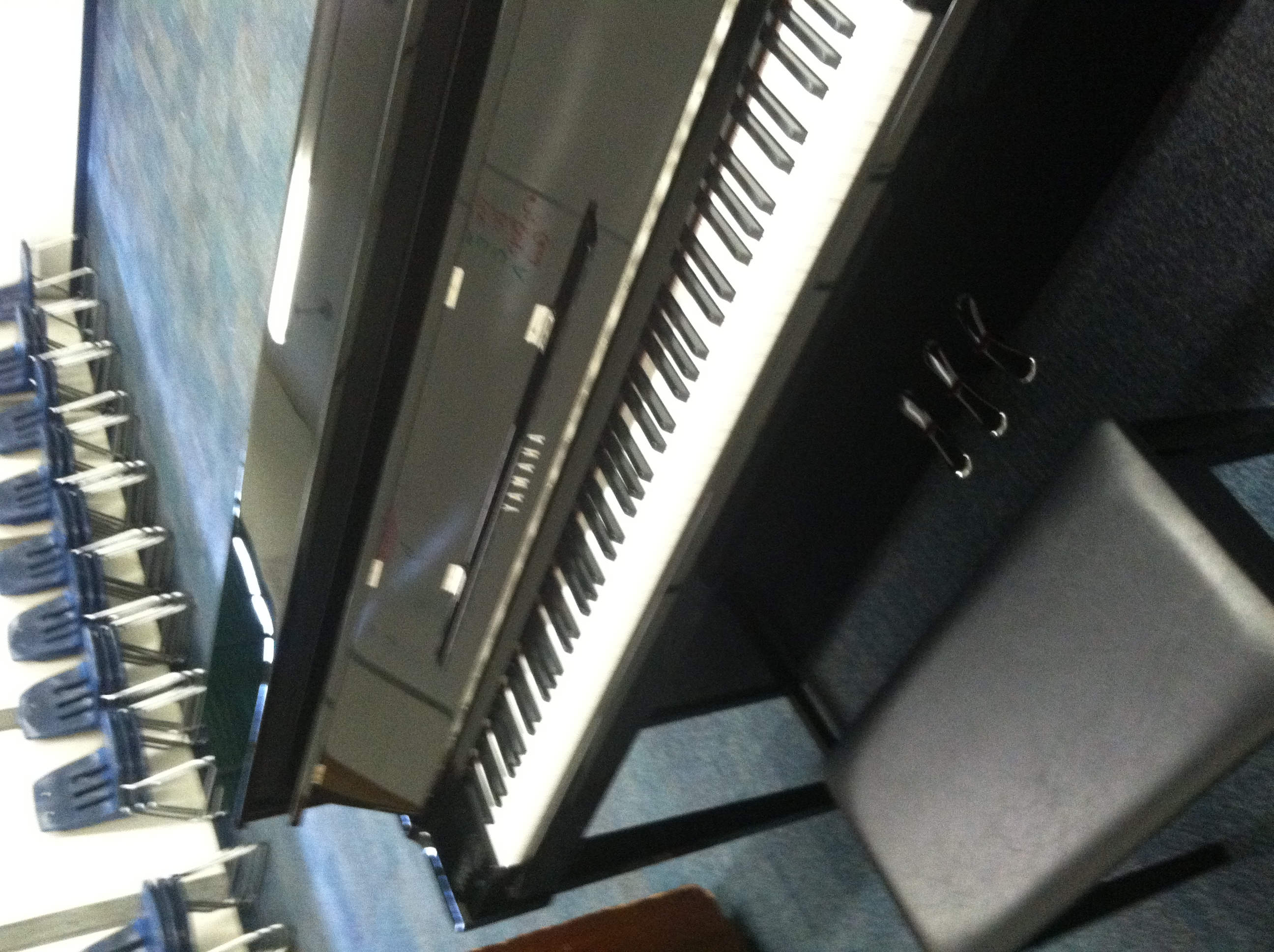 Our new piano - thanks to Barry Manilow's Music Project and Yamaha!