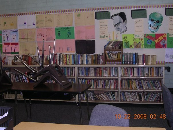 This is my classroom library and some student work. Don't be