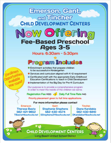 Now Offering Fee based Preschool Ages 3-5