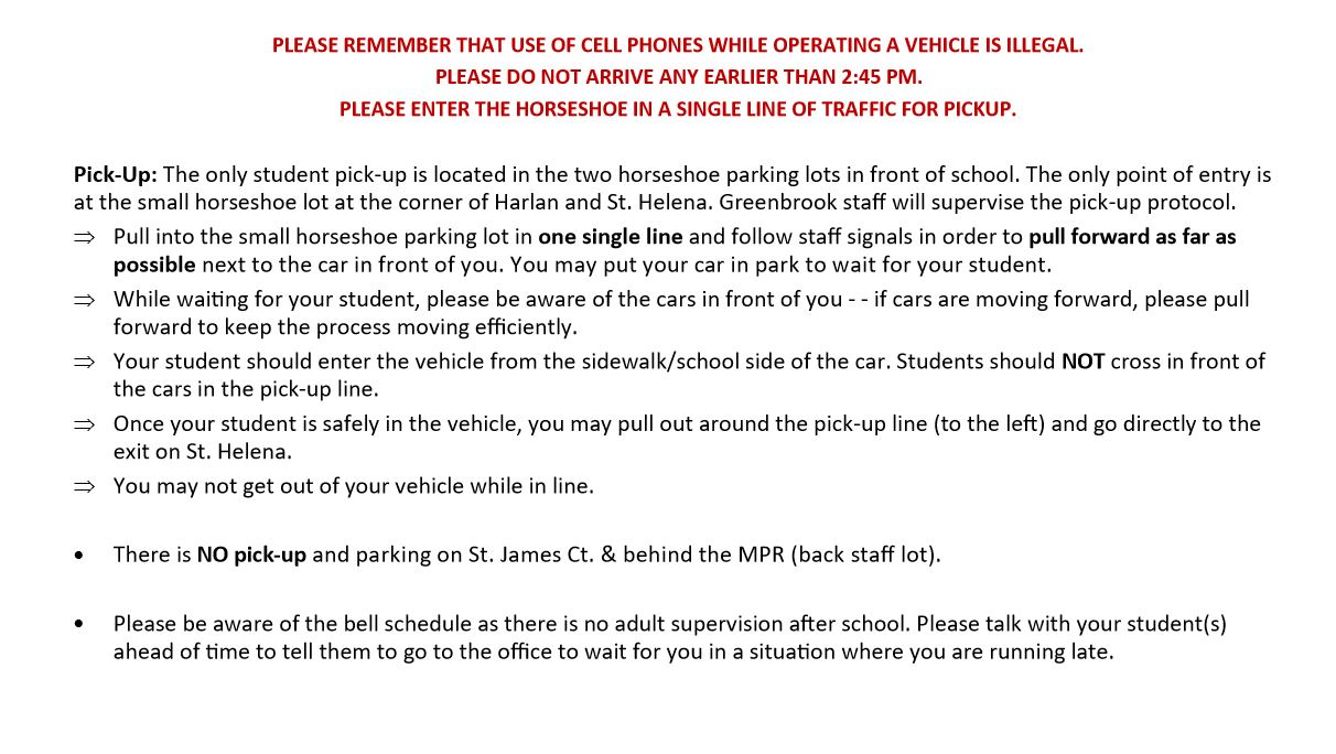 Pick up Procedure text