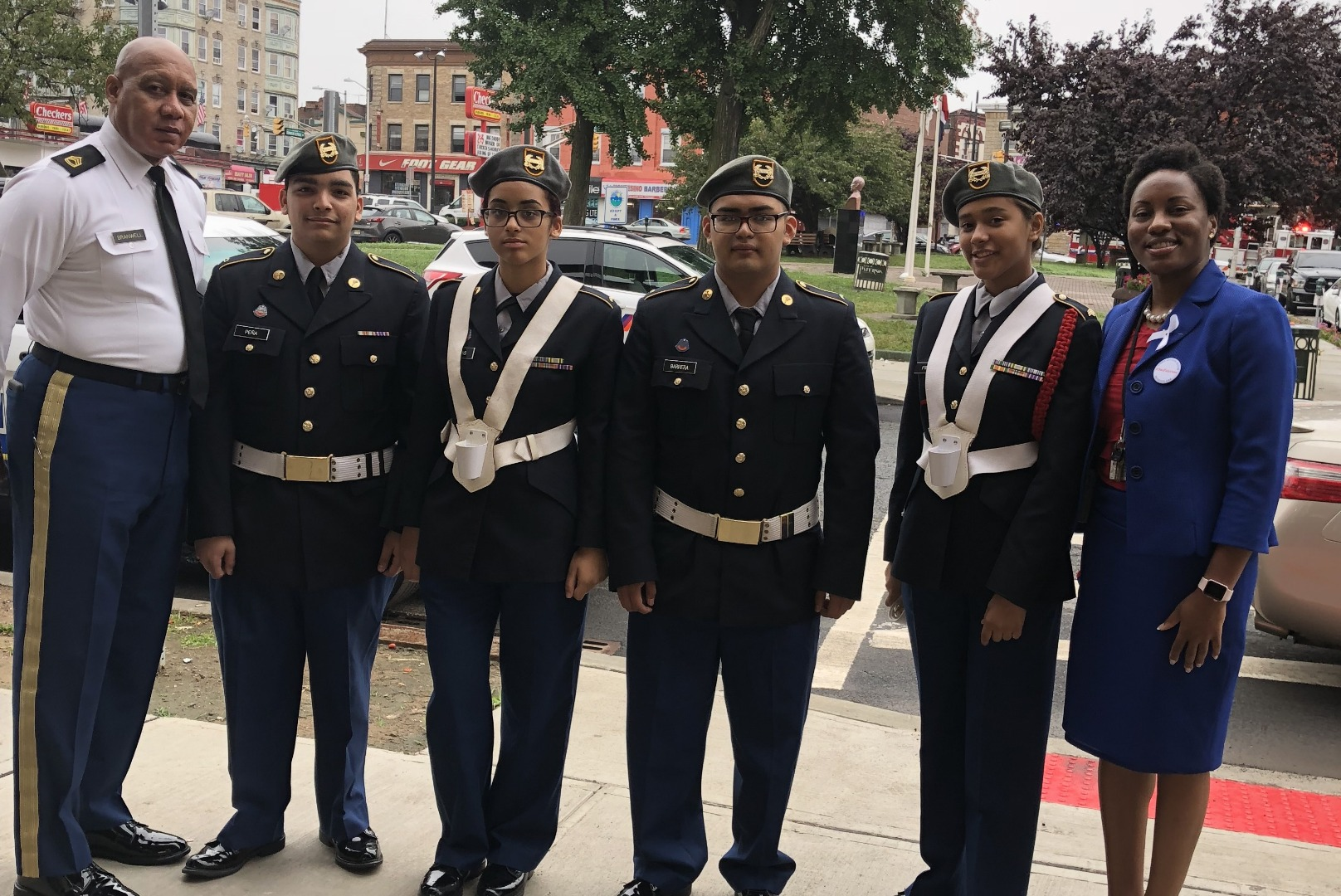 SFC Mauricio Branwell and Vice Principal Hilbert Stand with Cadets at the  Mayor's Ceremony.