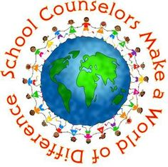 school counselors world of difference: text circling a globe