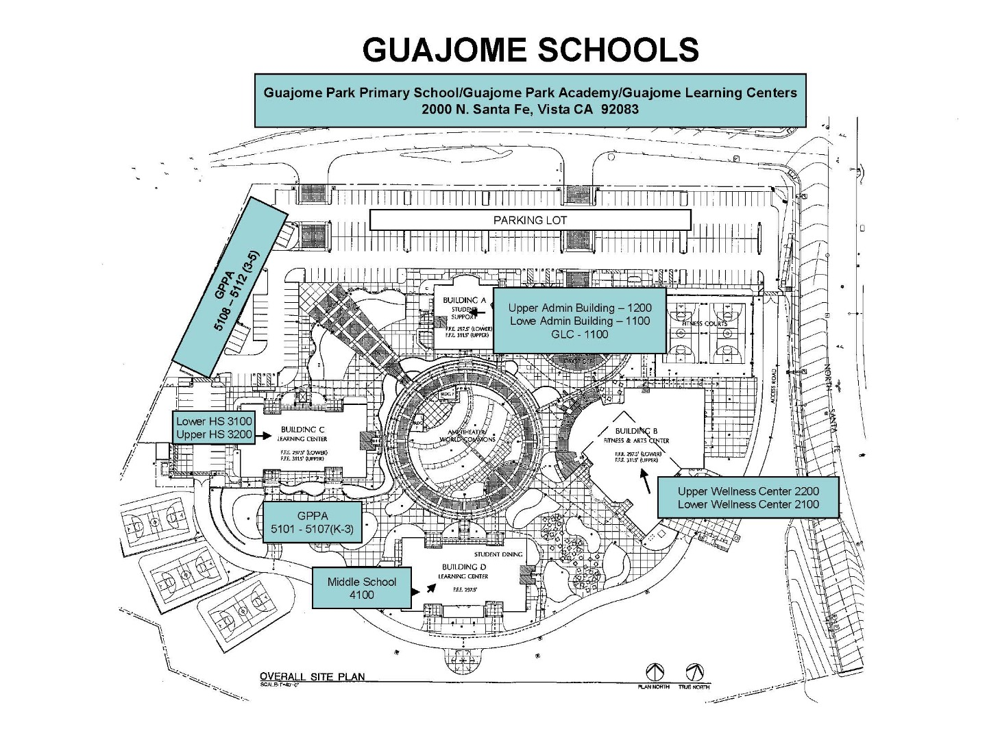 Map of the building numbers at guajome schools