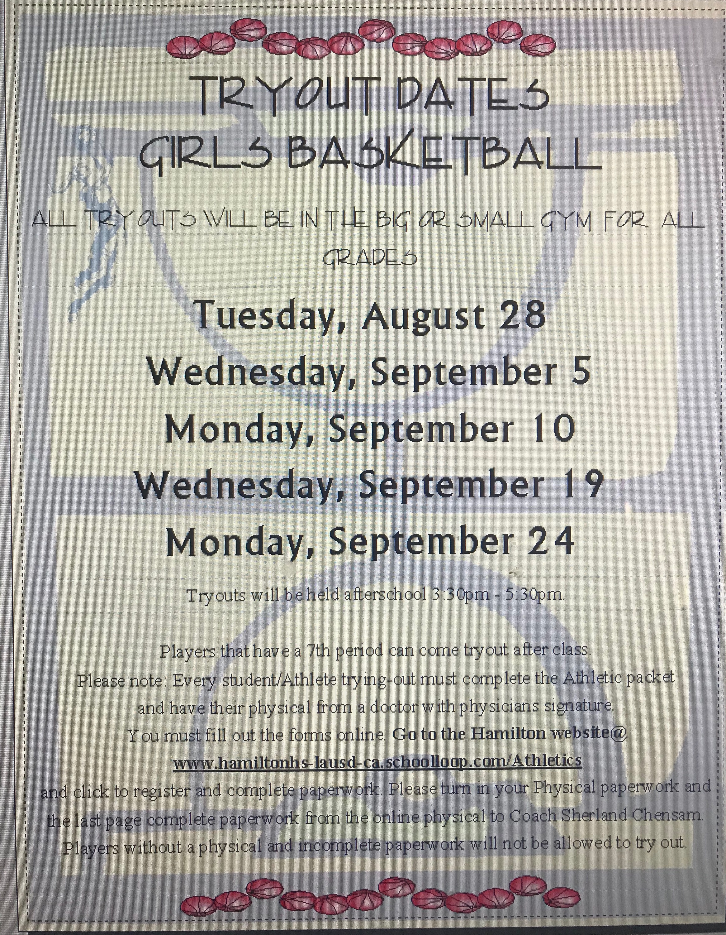 Girls Basketball Tryouts!!! 2018
