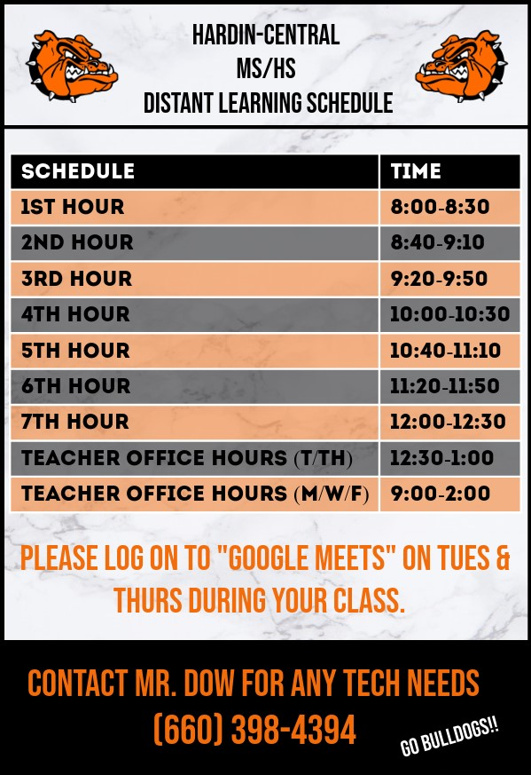 Distance Learning Schedule for AMI