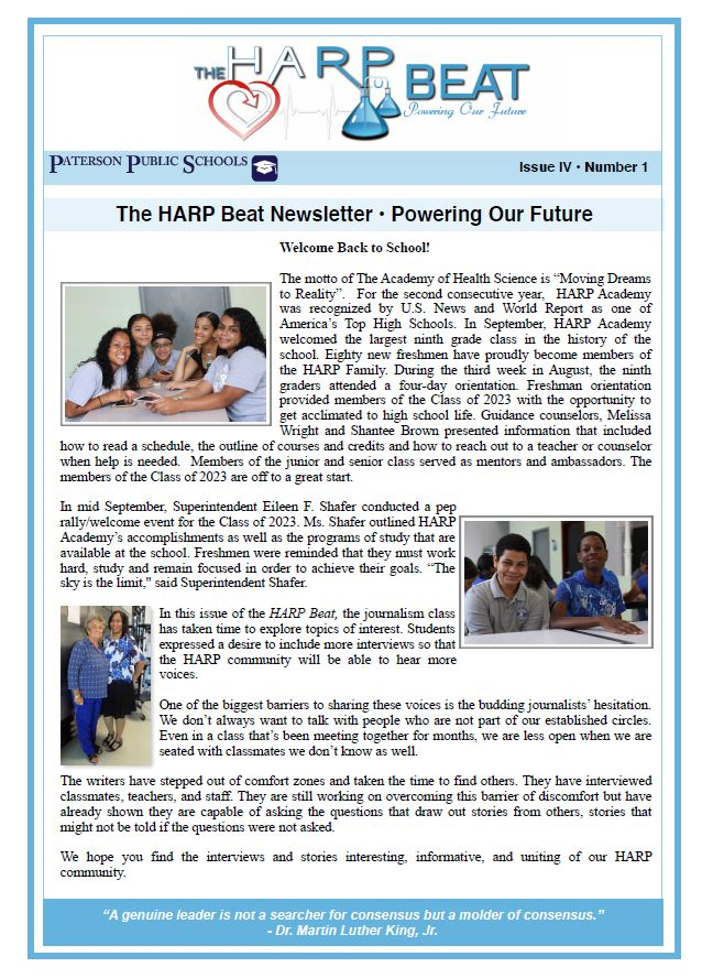 First Page of the HARP Beat Newsletter