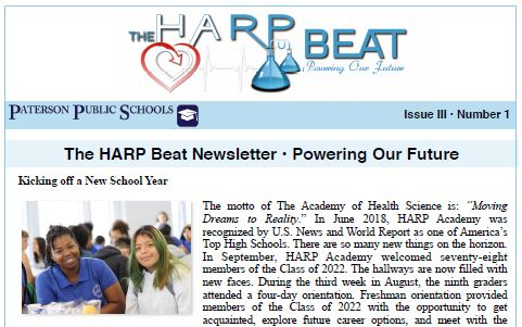 A Snip of the first page of the HARP Beat November 2018 Newsletter