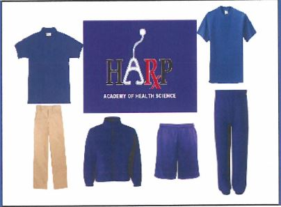 This is an image of various HARP Academy uniform tops and bottoms that links to  information about where to purchase your uniform.