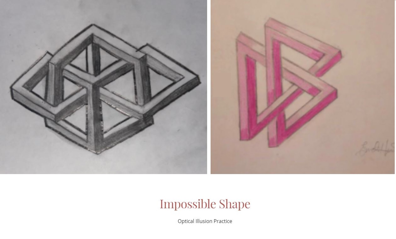 Student drawings of Optical Illusion shapes