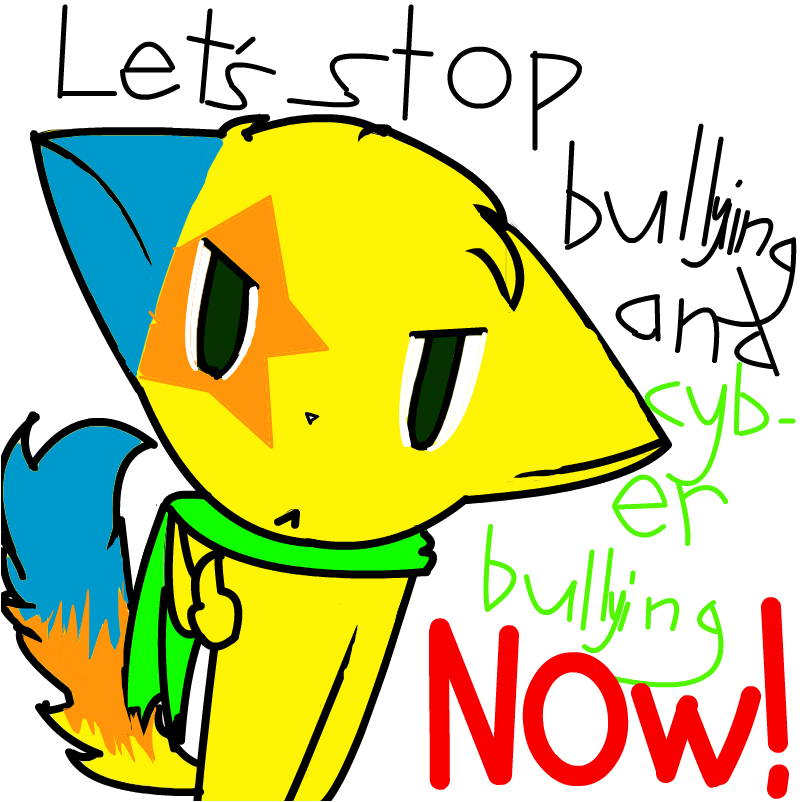 Cartoon cat with text: Let's stop bullying and cyberbullying now