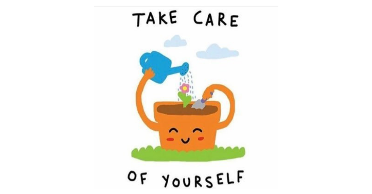 Cartoon container garden self watering blooming flower with Text: Take Care of  Yourself