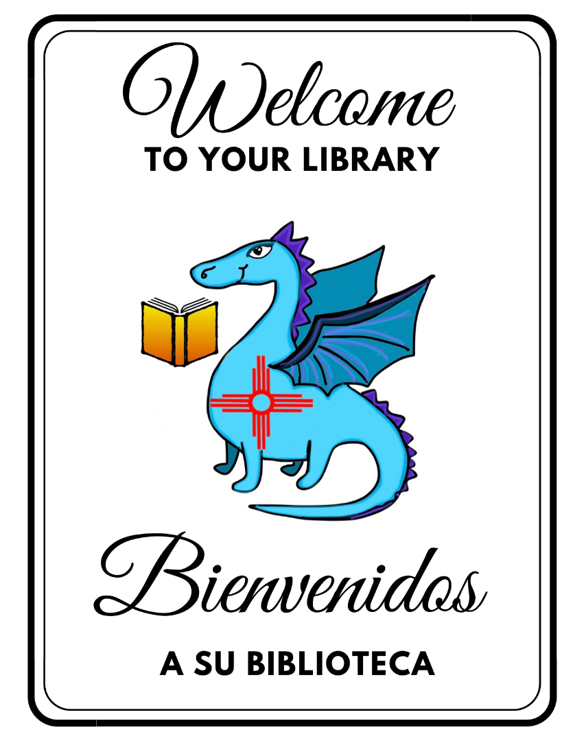 Library mascot, dragon with a Zia symbol on its chest and, next to a book.