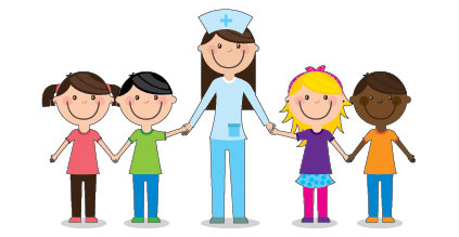 Illustration of nurse holding hands with children