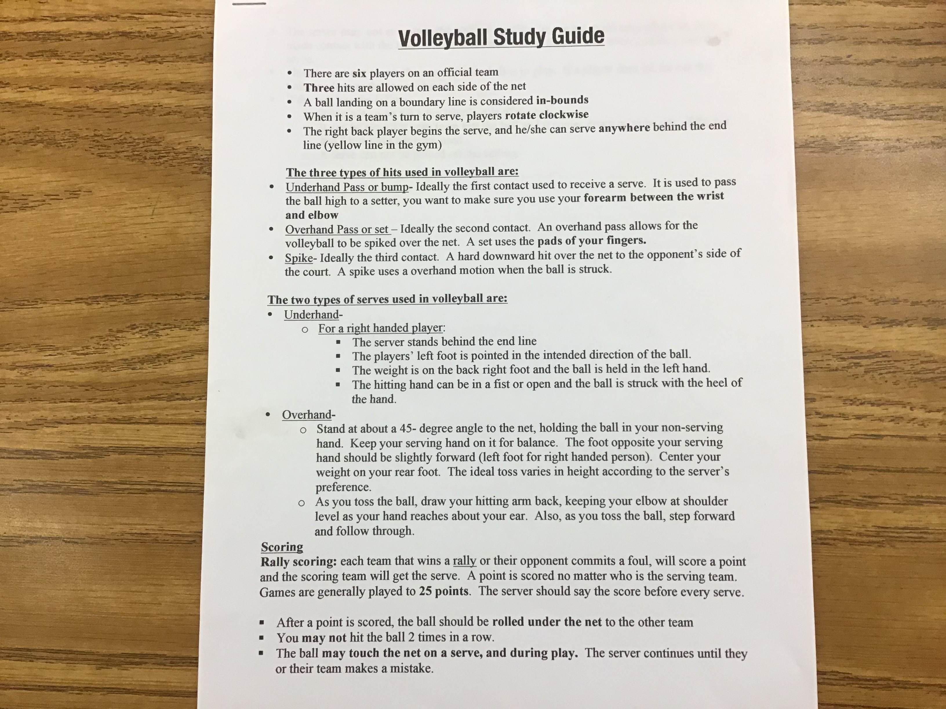 Volleyball Study Guide # 1