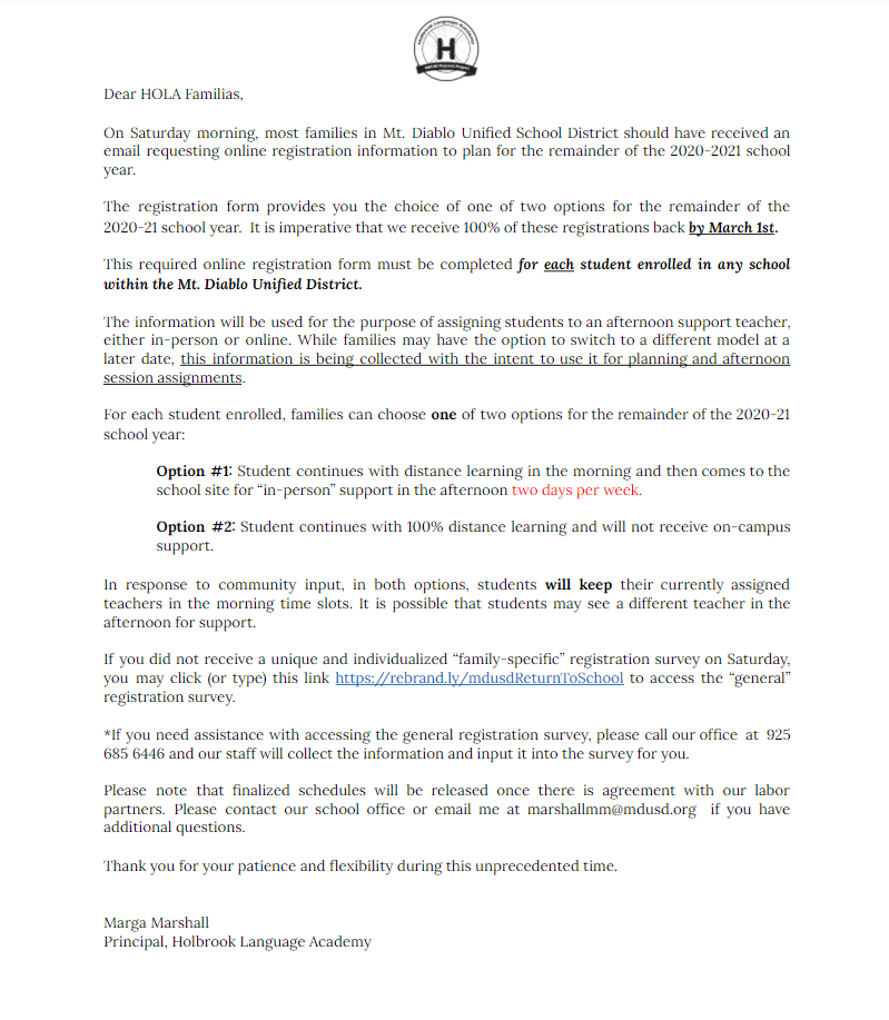 Reopening School letter