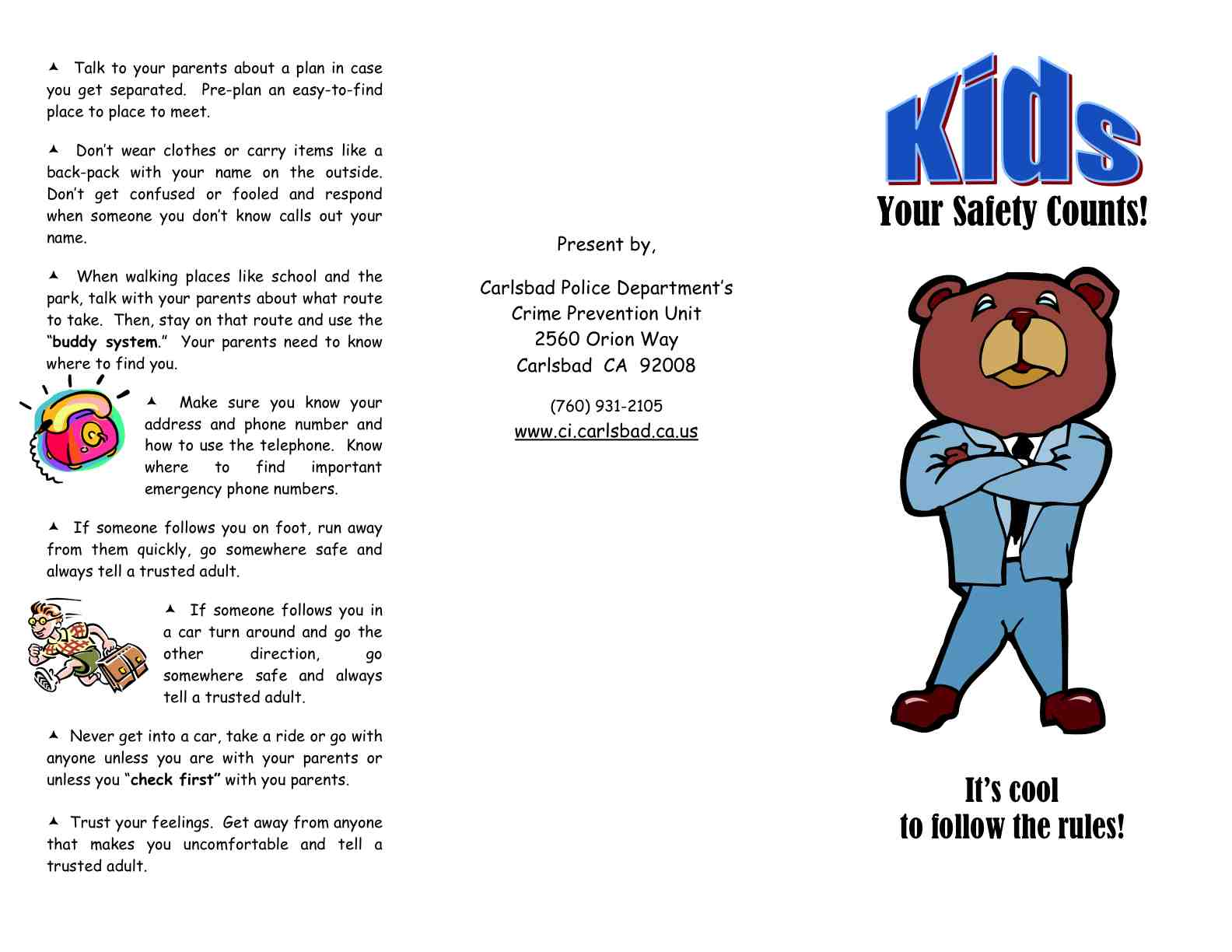 Carlsbad Police Department Safety Tips for Children2010.2