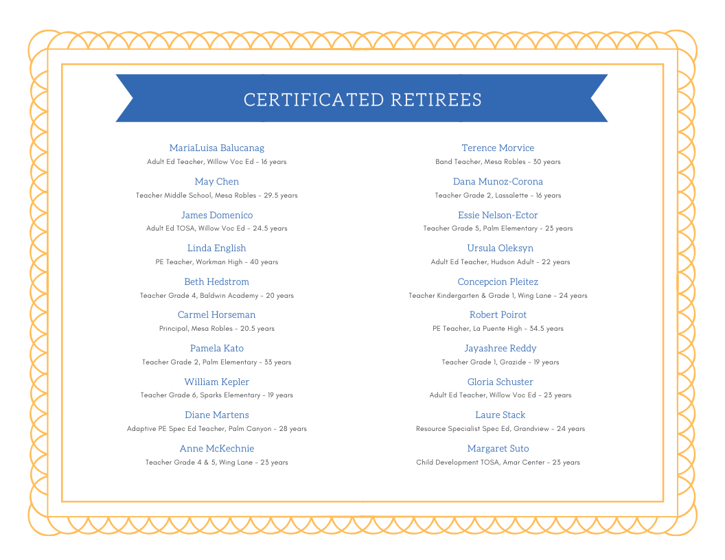 Certificated Retirees