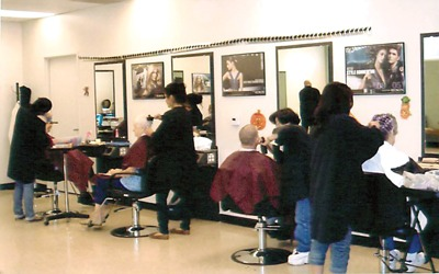 Salon with customers having their hair styled