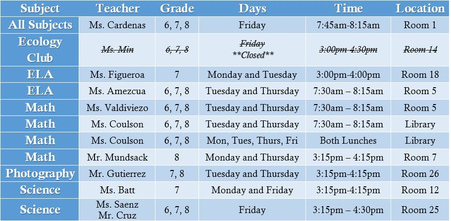 T1 Tutoring Schedule
