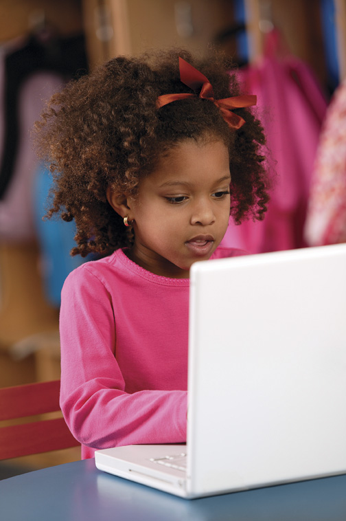 Preschool young girl computer