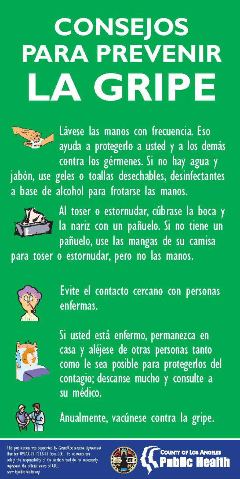 Flu Prevention Tips Spanish