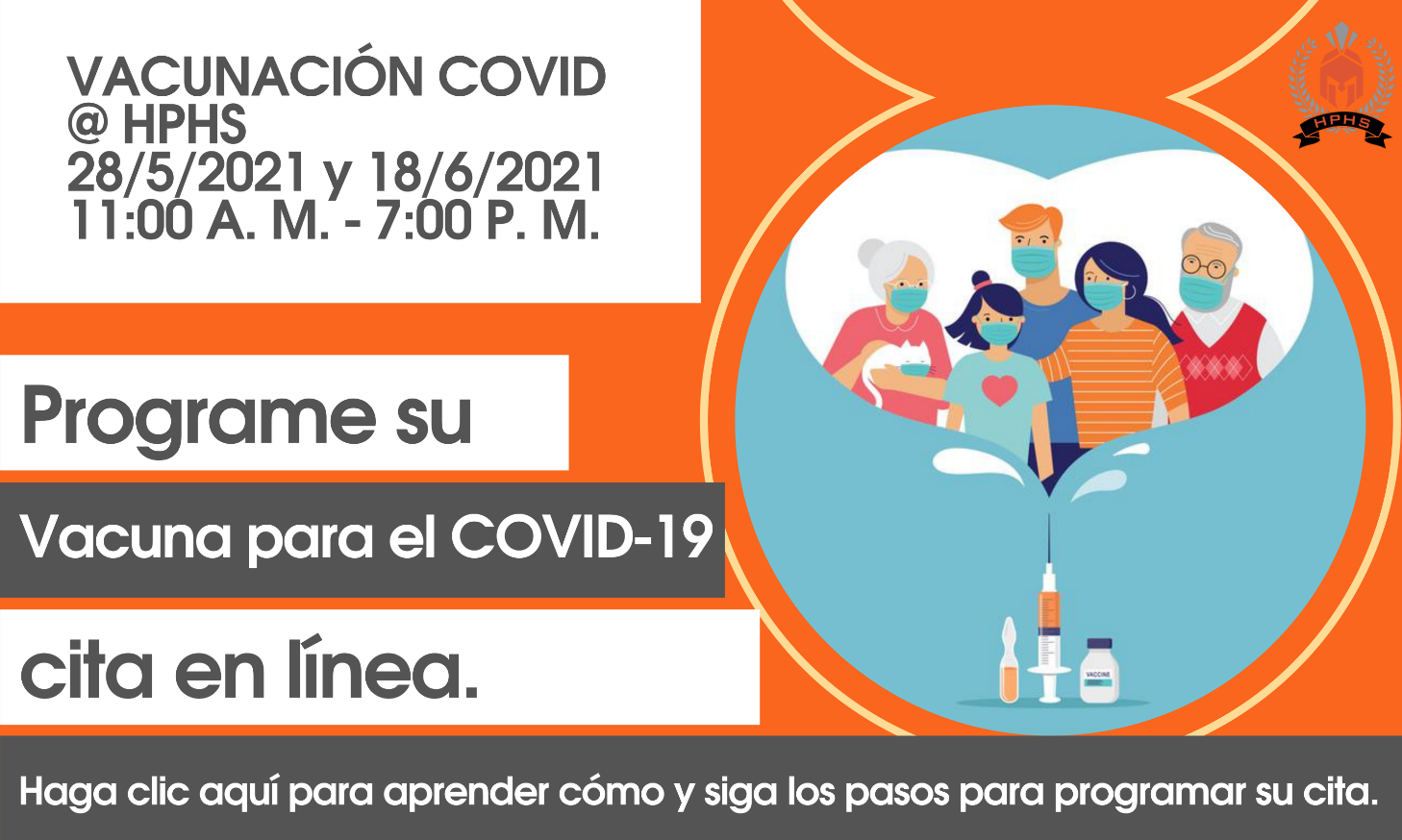 COVID Vaccination at HPHS Flyer Spanish