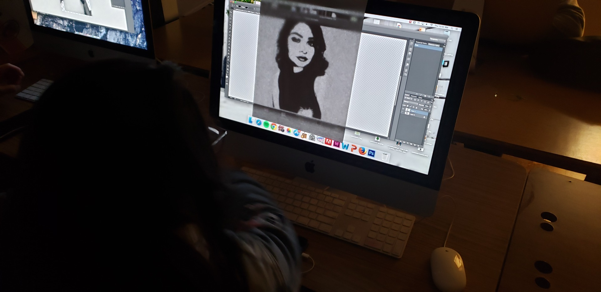 Student's working with Illustrator