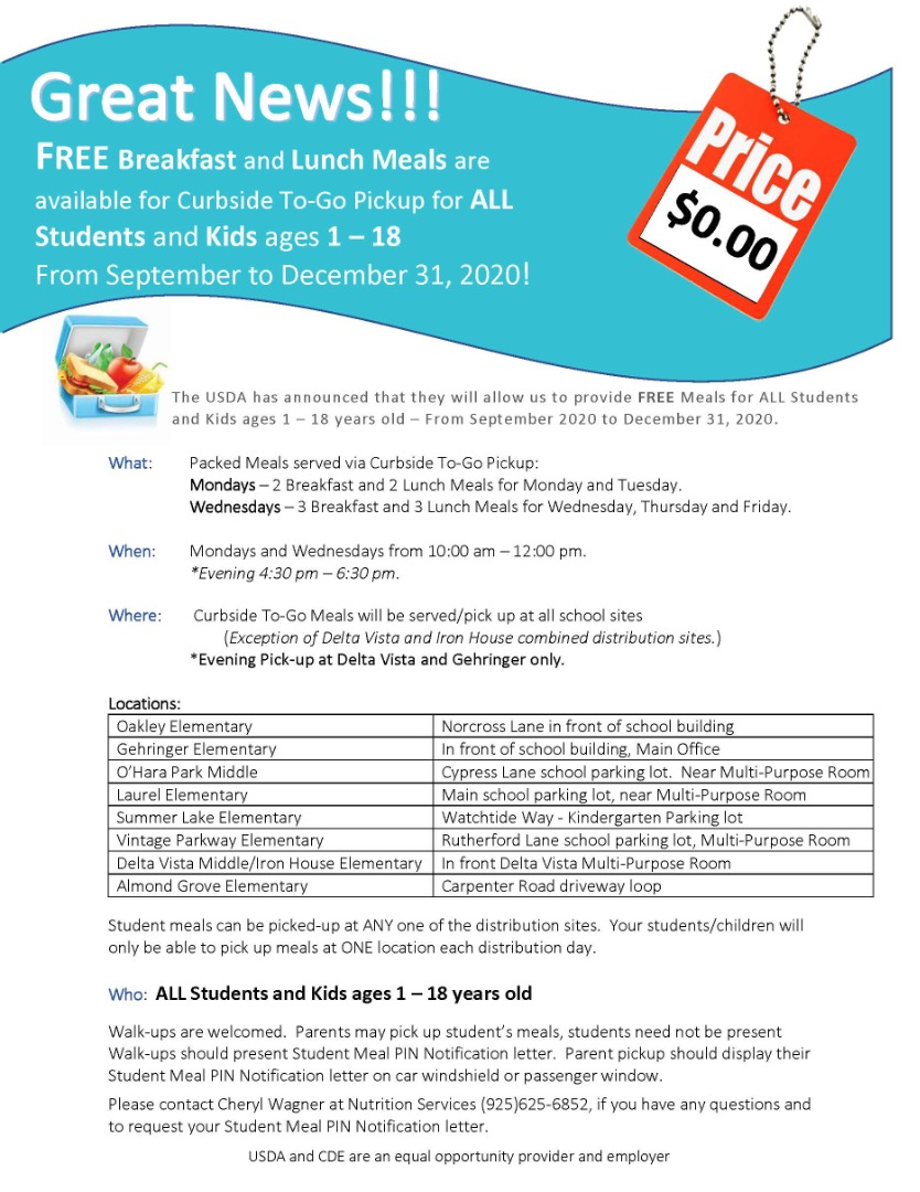Free Breakfast & Lunch To Go Meals at all schools. Mondays & Wednesdays