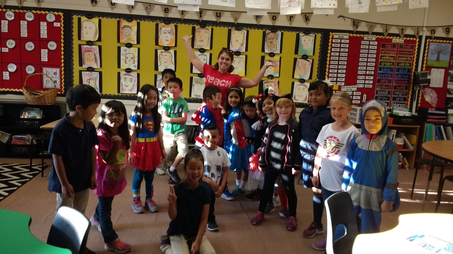 First-graders on superhero day
