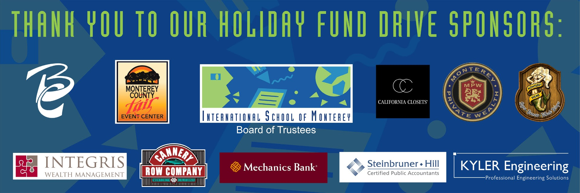 Thank you to our holiday fund drive sponsors.