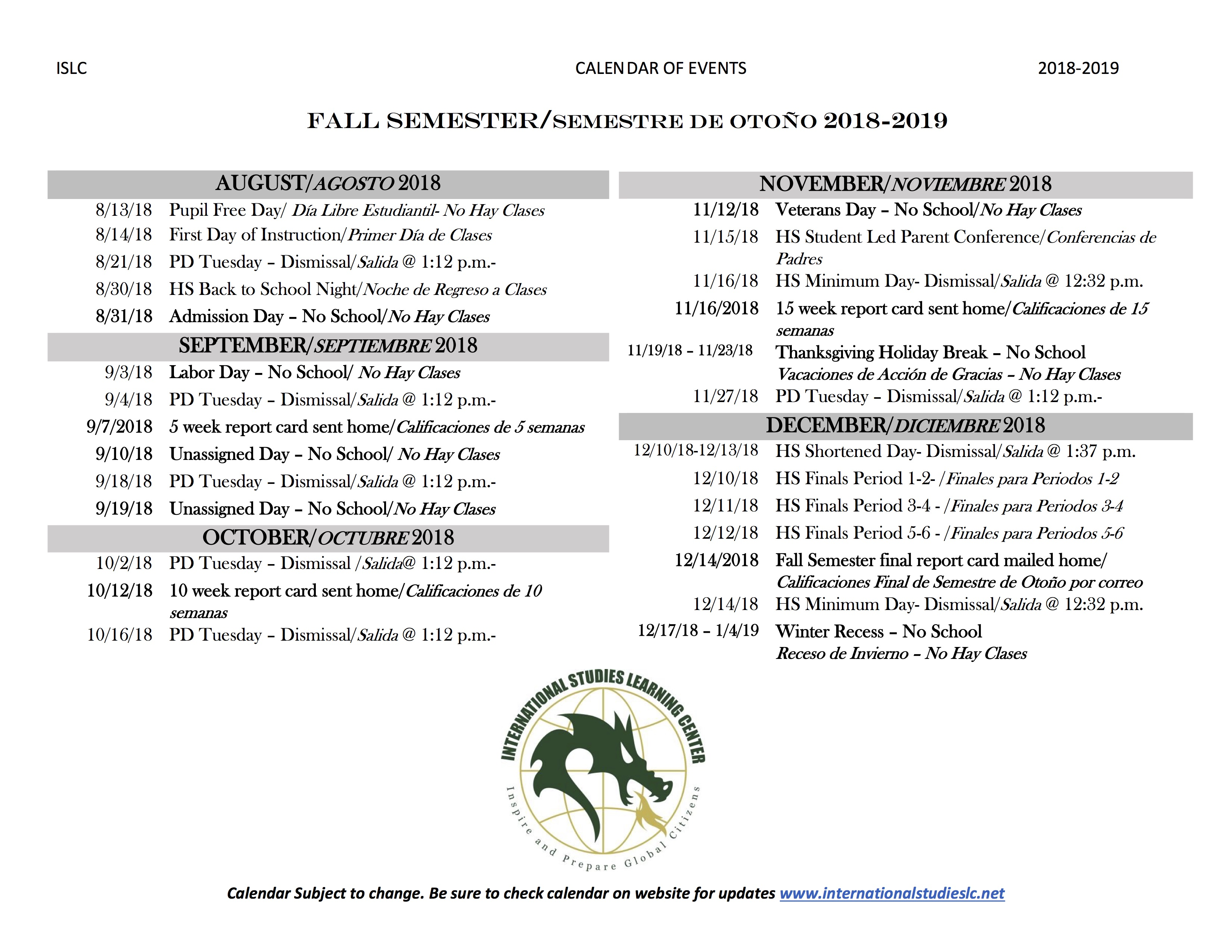 Calendar of Events-Fall 2018
