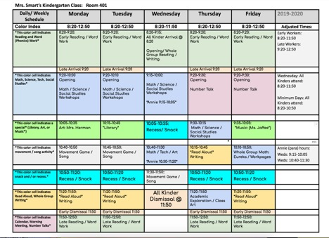 Weekly / Daily Schedule for 2019-2020 School Year