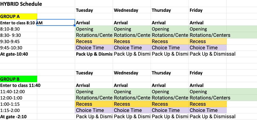 Hybrid Schedule Tuesday-Friday
