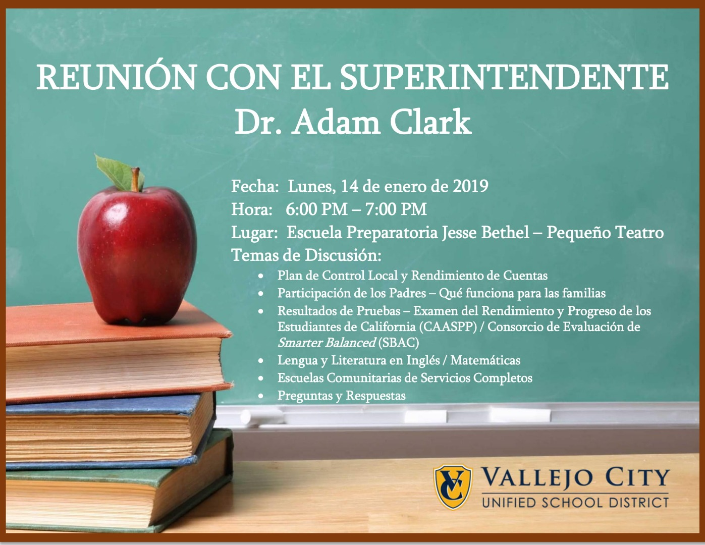 Meeting with Superintendent info in Spanish