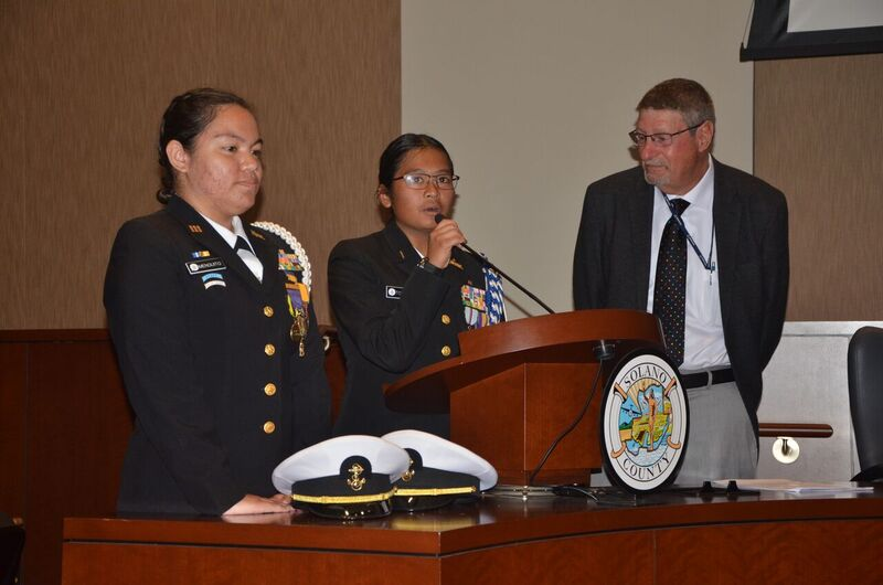 Jesse Bethel NJROTC Cadet Lieutenant Ashley Menguito and Cadet ensign  Tricia-Ann Tolentino receives recognition during a Solano County board of  supervisor's meeting for our youth citizenship program along with cadets from  Fairfield and Vanden High schools. Congratulations to all of you for a job well  done!