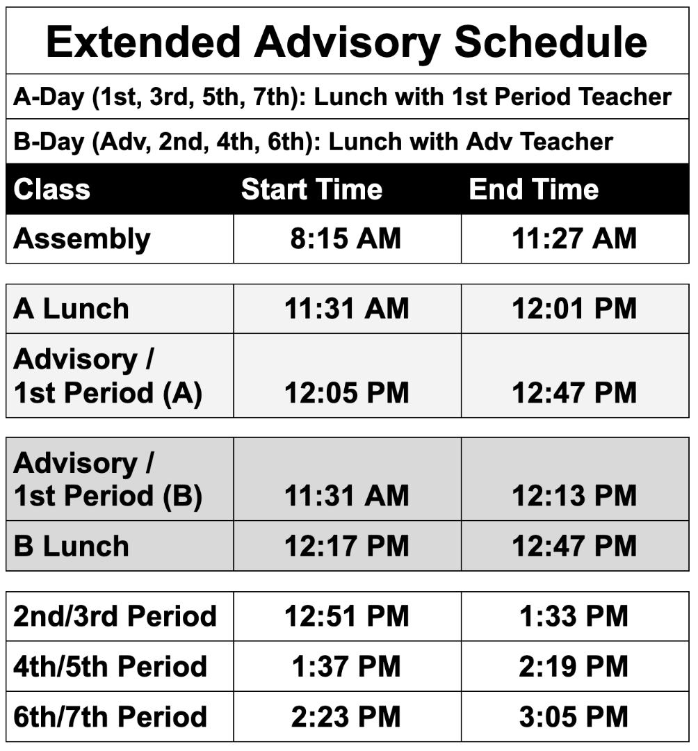 Extended Advisory Schedule