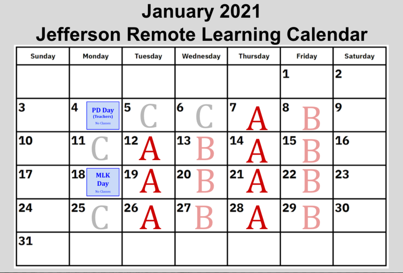 January 2021 - Remote Learning Calendar