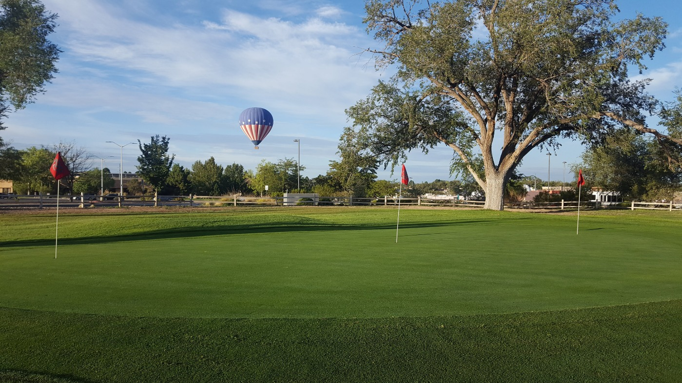 Golf Course with hot air balloon
