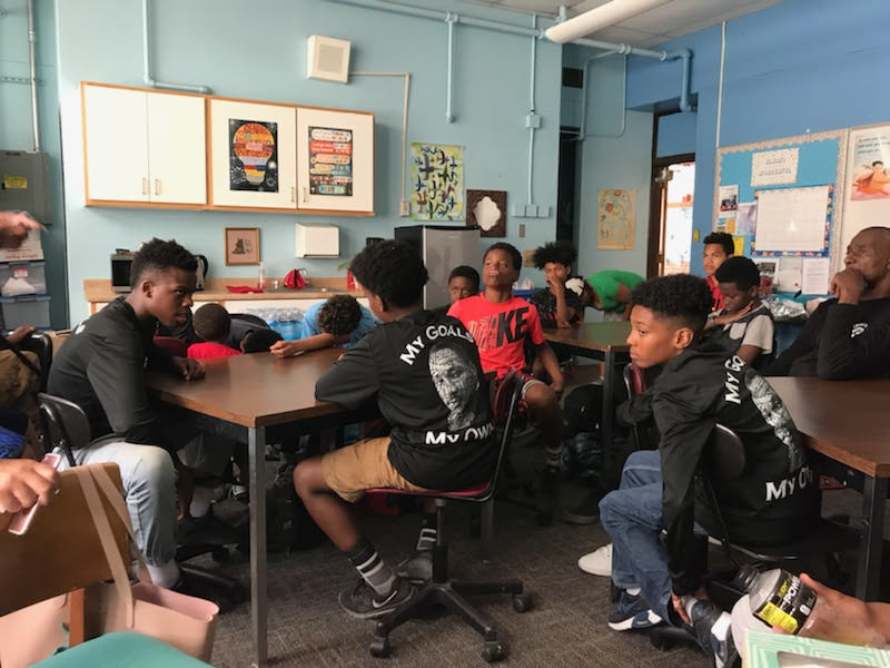 Students in the Family Engagement Room