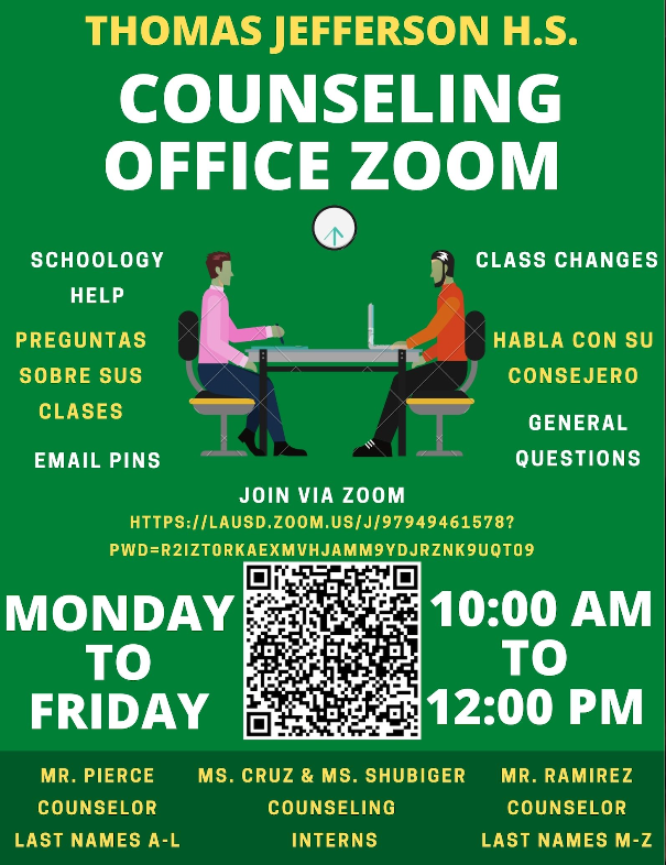 Flyer for Jefferson Counseling zoom with link hours 10AM to 12PM
