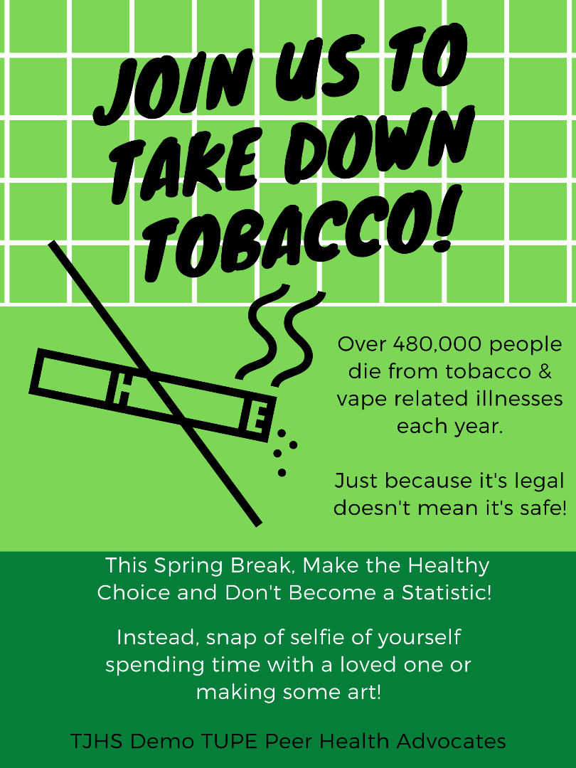 Flier promoting take down tobacco event