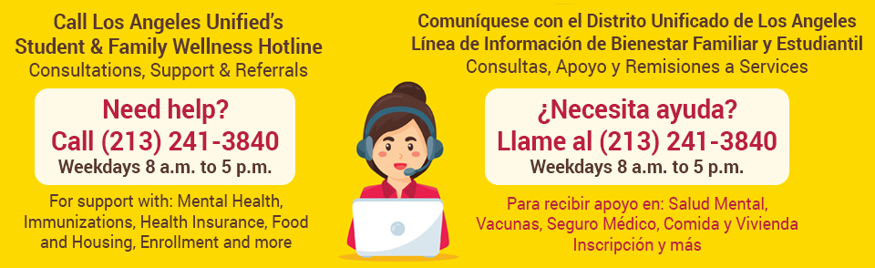 Flyer for LAUSD Resource Hotline