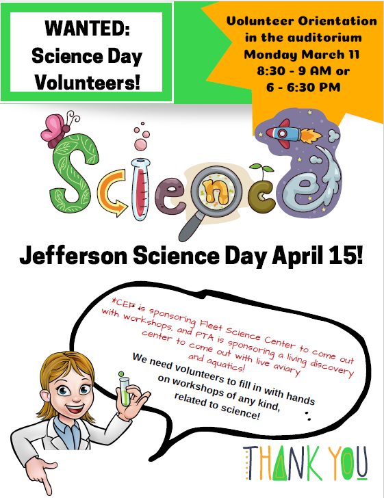 Science Day Help Needed
