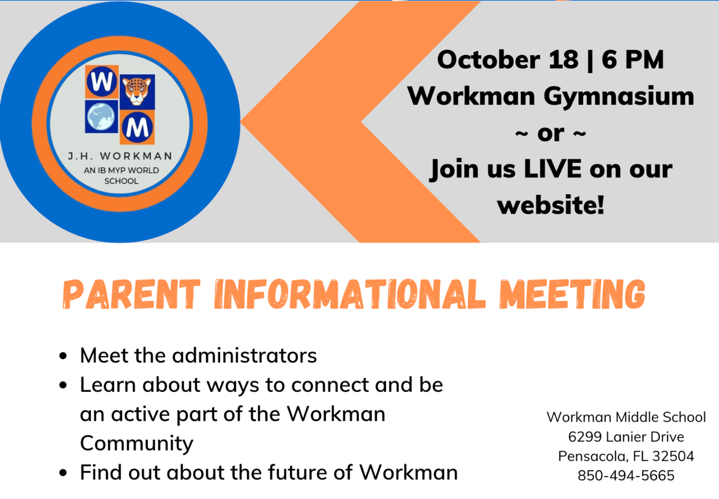 Parent information meeting October 18th at 6pm
