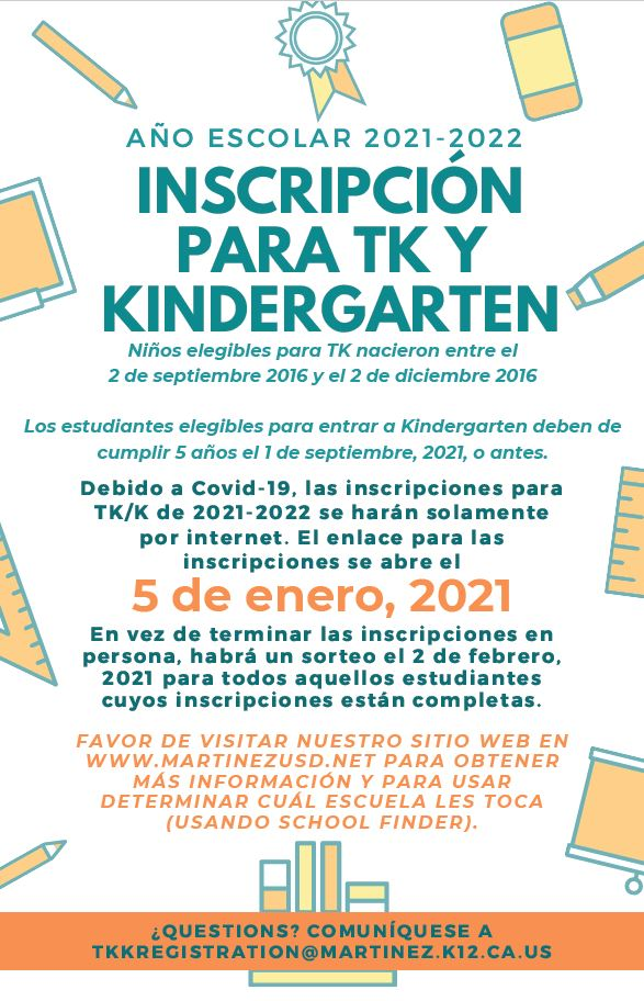 TK and Kinders 2021/2022 registration information in Spanish
