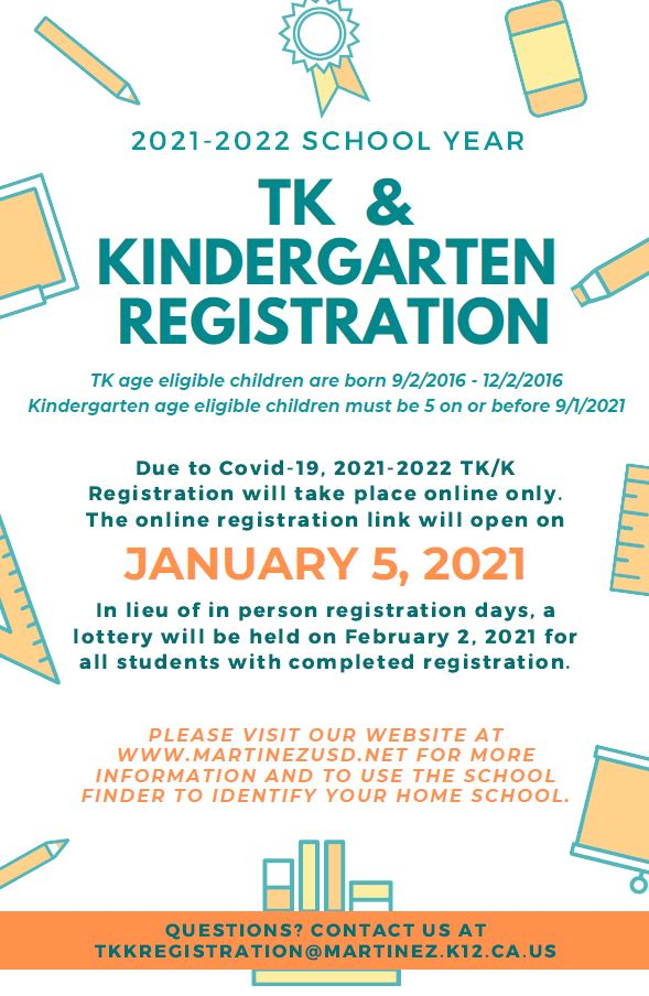 TK and Kinders 2020/2021 registration information
